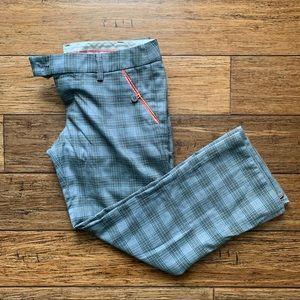 Grey Plaid Wide Leg Trousers with Salmon Trim